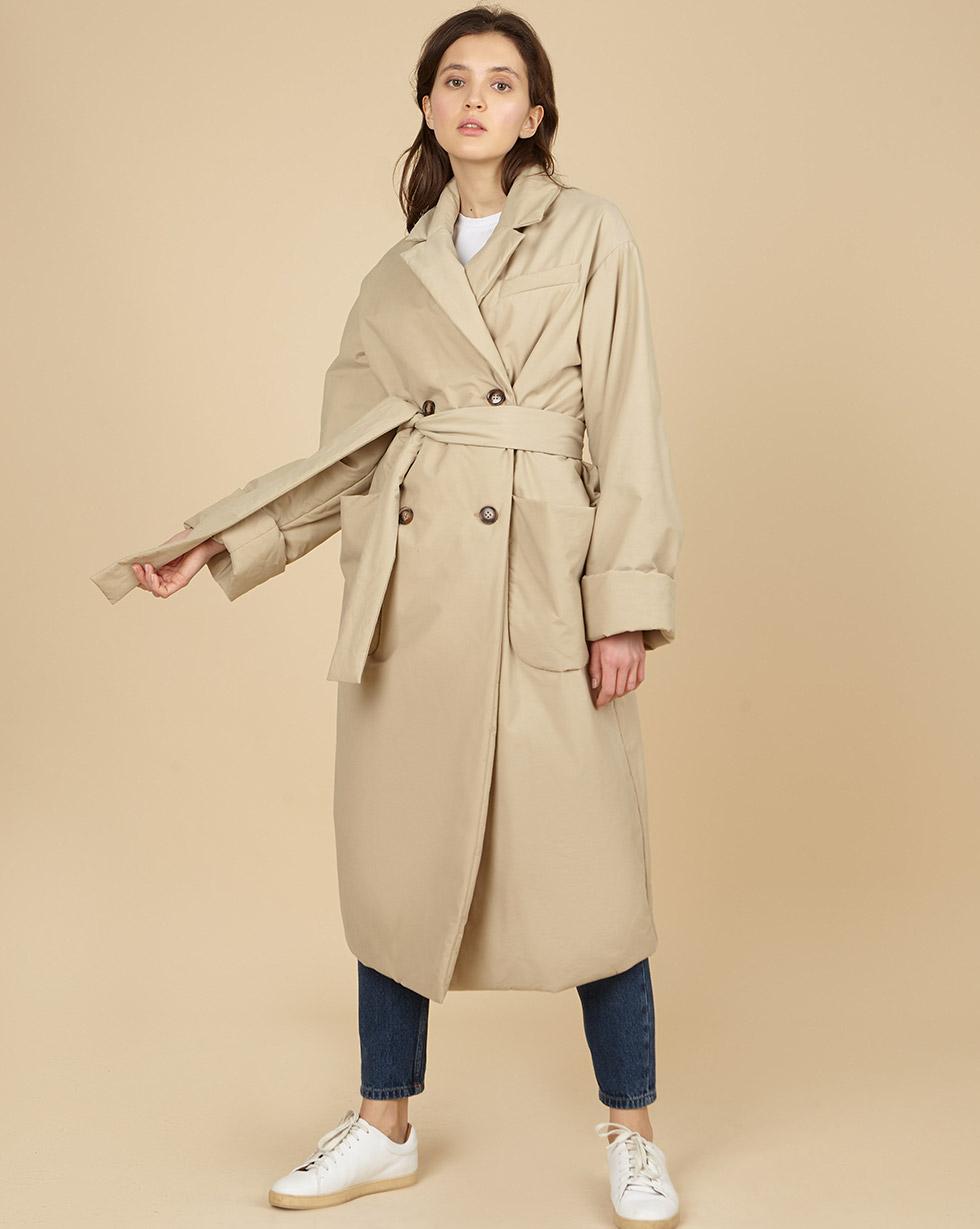 12Storeez Пальто утеплённое из плащевой ткани с поясом (бежевый)