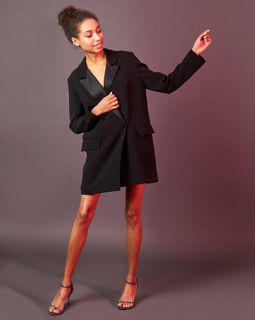 12Storeez Платье-жакет с атласными лацканами (чёрный) жакет из денима с воланом