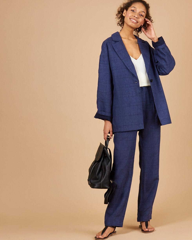 12Storeez Пиджак свободного кроя изо льна (синий) 12storeez пиджак свободного кроя изо льна синий