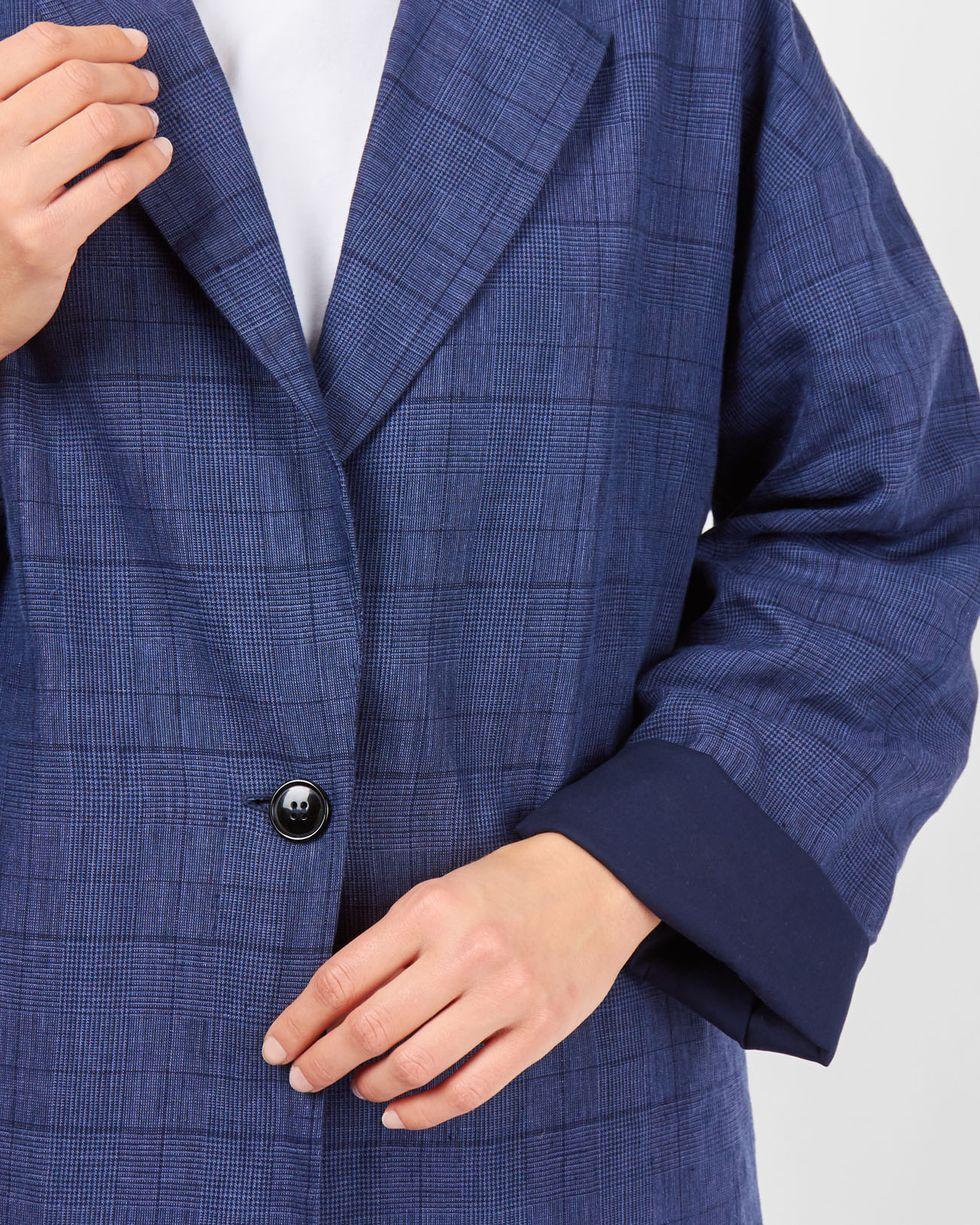 Пиджак свободного кроя изо льна MЖакеты<br><br><br>Артикул: 93010050<br>Размер: M<br>Цвет: Синий<br>Новинка: НЕТ<br>Наименование en: Relaxed fit linen jacket