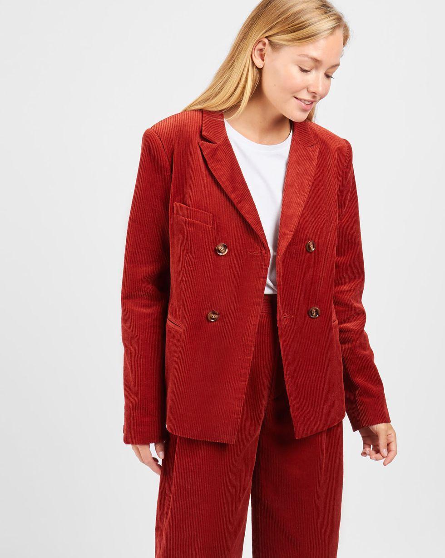 Жакет укороченный двубортный из вельвета XSЖакеты<br><br><br>Артикул: 93011066<br>Размер: XS<br>Цвет: Терракотовый<br>Новинка: НЕТ<br>Наименование en: Corduroy cropped jacket