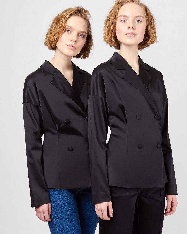12Storeez Жакет двубортный со складками (черный) bonsui короткое платье