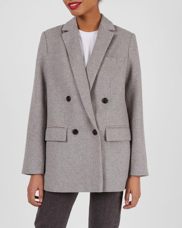 12Storeez Пиджак двубортный из плотной шерсти (светло-серый) 12storeez жакет из шерсти на пуговицах светло серый