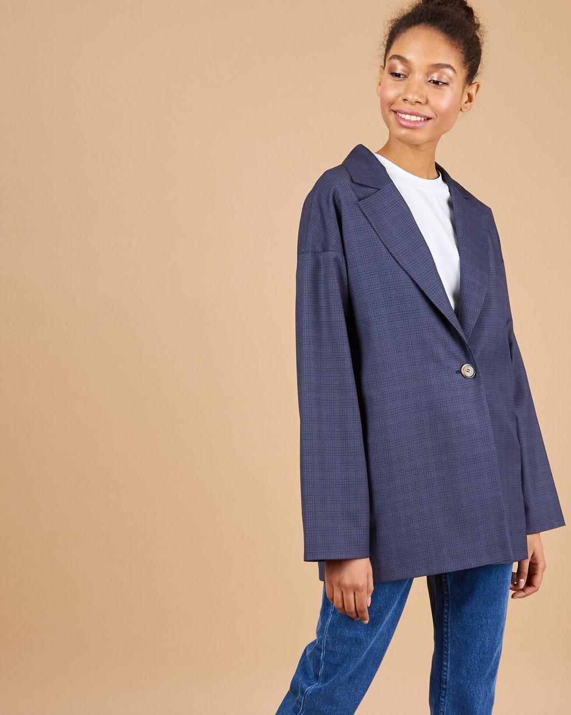 Свободный пиджак в клетку SЖакеты<br><br><br>Артикул: 93014091<br>Размер: S<br>Цвет: Темно-синий<br>Новинка: НЕТ<br>Наименование en: Check one-button jacket