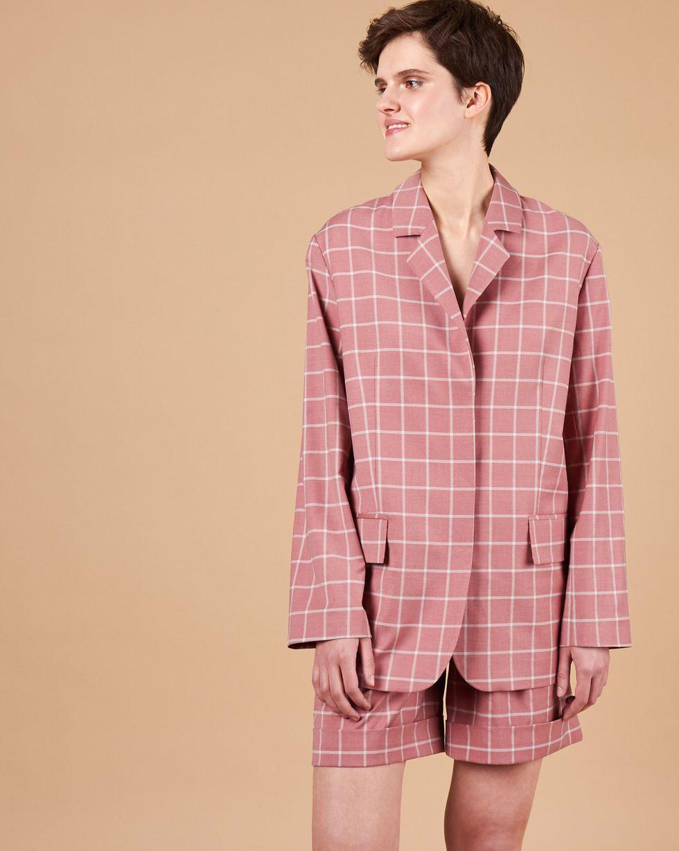 цена 12Storeez Пиджак классический с объемными плечами в клетку (красный) онлайн в 2017 году