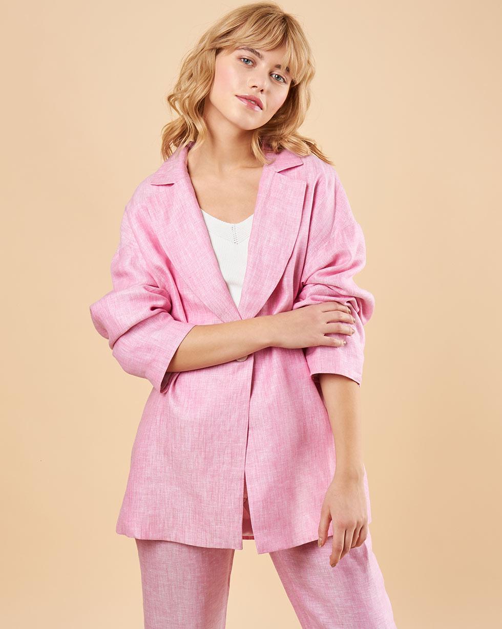 12Storeez Пиджак свободного кроя изо льна (розовый) 12storeez пиджак свободного кроя изо льна синий