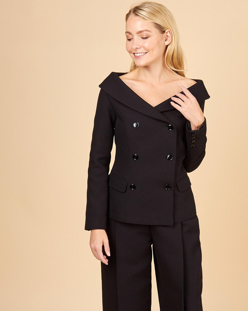 12Storeez Жакет с открытыми плечами (черный) 12storeez пиджак двубортный из плотной шерсти горчичный