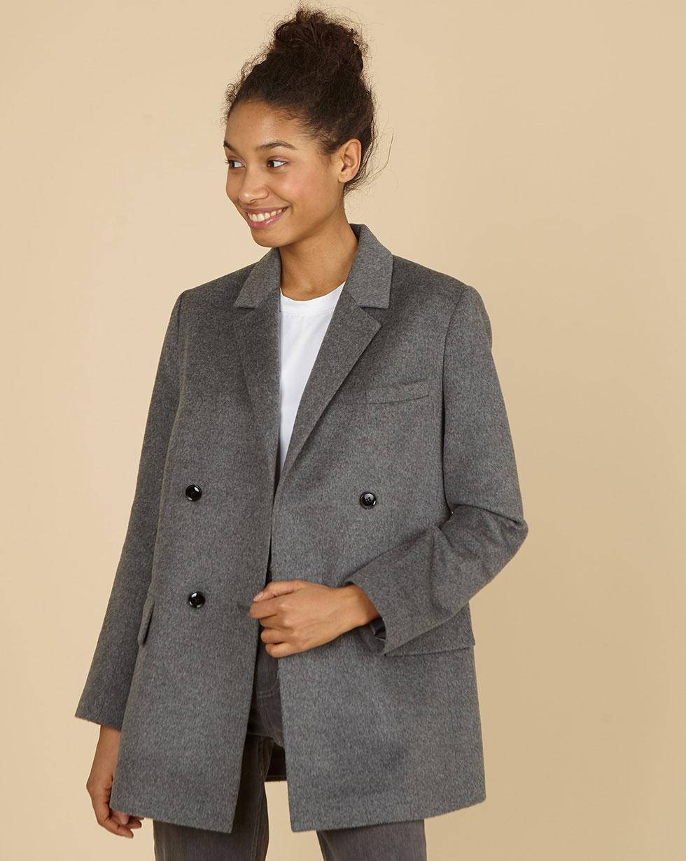 12Storeez Пиджак двубортный из плотной шерсти (графитовый серый)