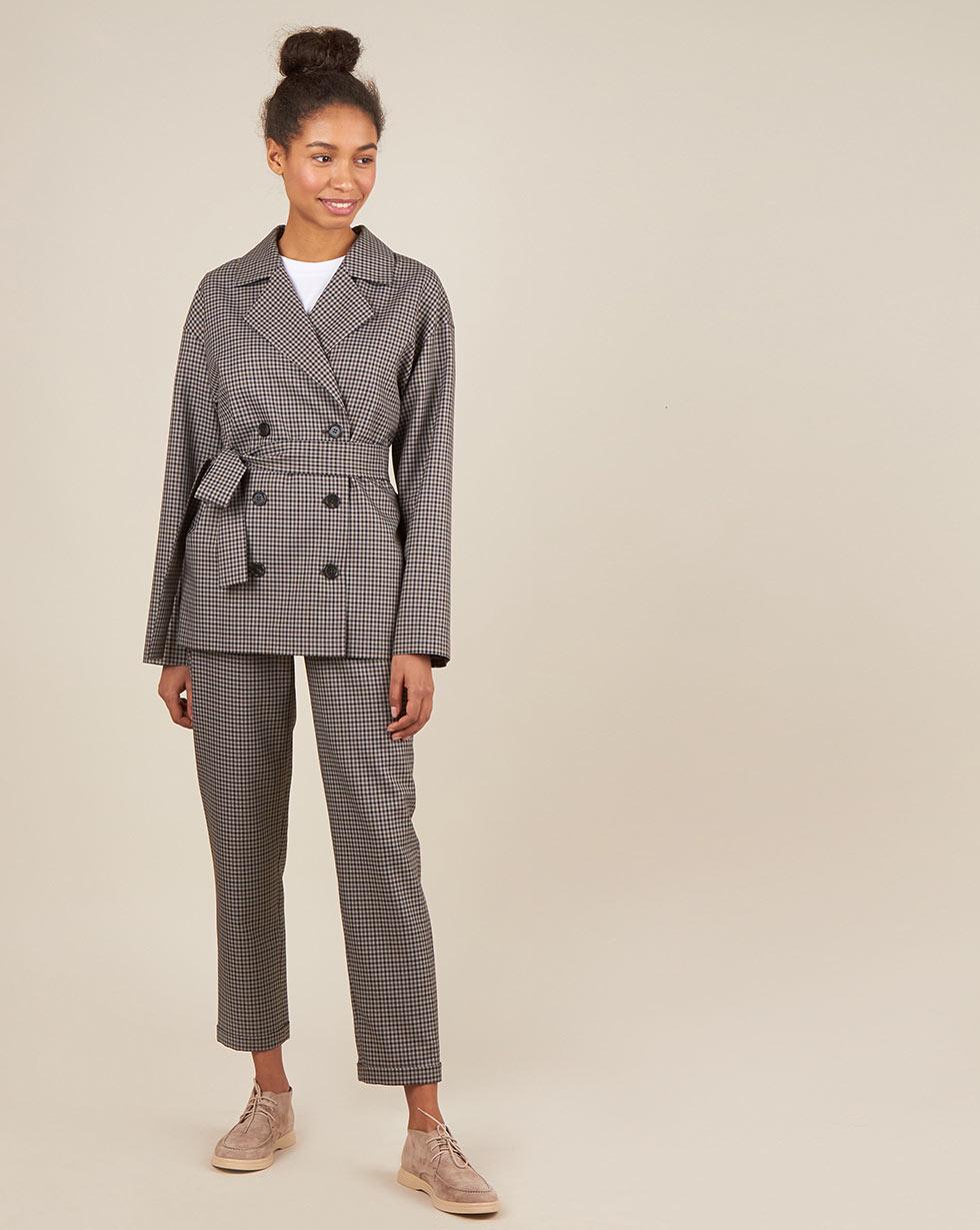 12Storeez Жакет двубортный в клетку с поясом (коричневый) 12storeez костюм жакет двубортный и брюки коричневый меланж