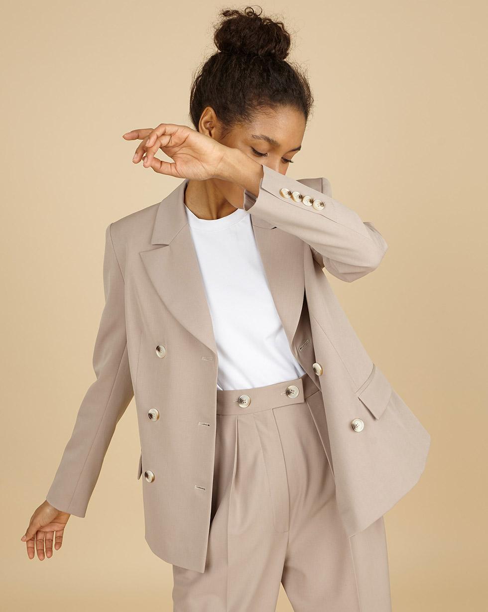 12Storeez Жакет классический двубортный (серо-коричневый) 12storeez костюм жакет двубортный и брюки коричневый меланж