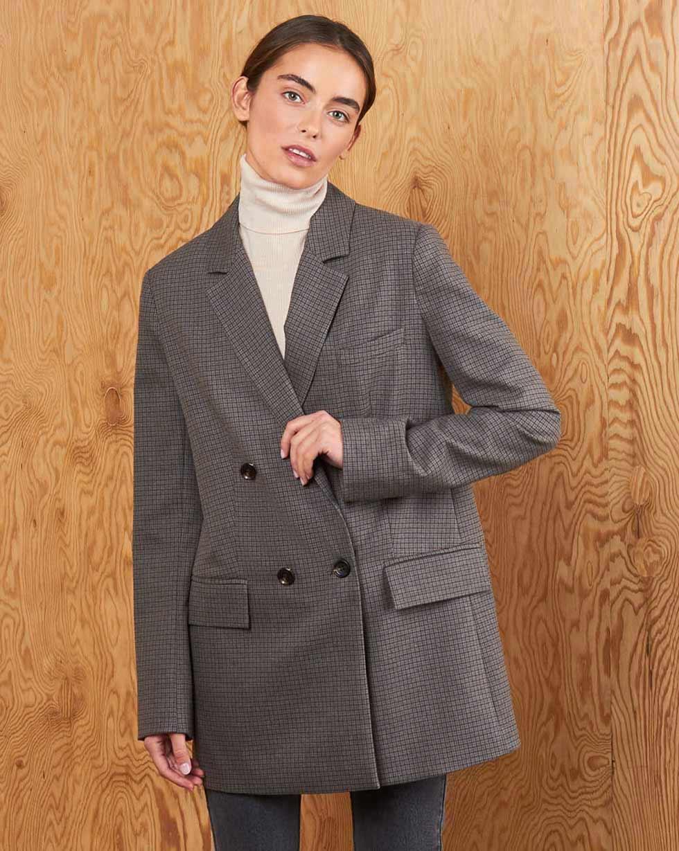 12Storeez Пиджак двубортный (серый в мелкую клетку) 12storeez пиджак двубортный в клетку серый в клетку