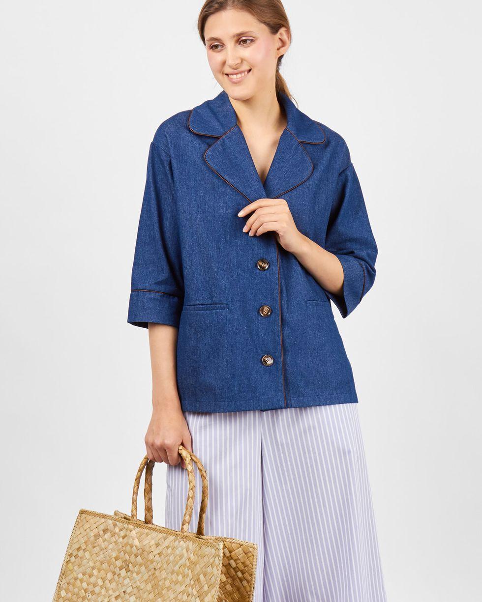 12Storeez Жакет джинсовый с кантом (синий) жакет джинсовый pinner прямой покрой