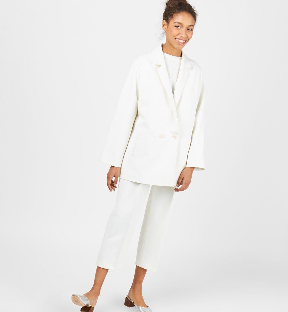 Пиджак двубортный (белый)