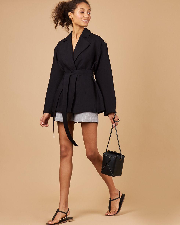 12Storeez Пиджак изо льна (черный) 12storeez костюм топ с длинными рукавами и удлиненные шорты изо льна черный