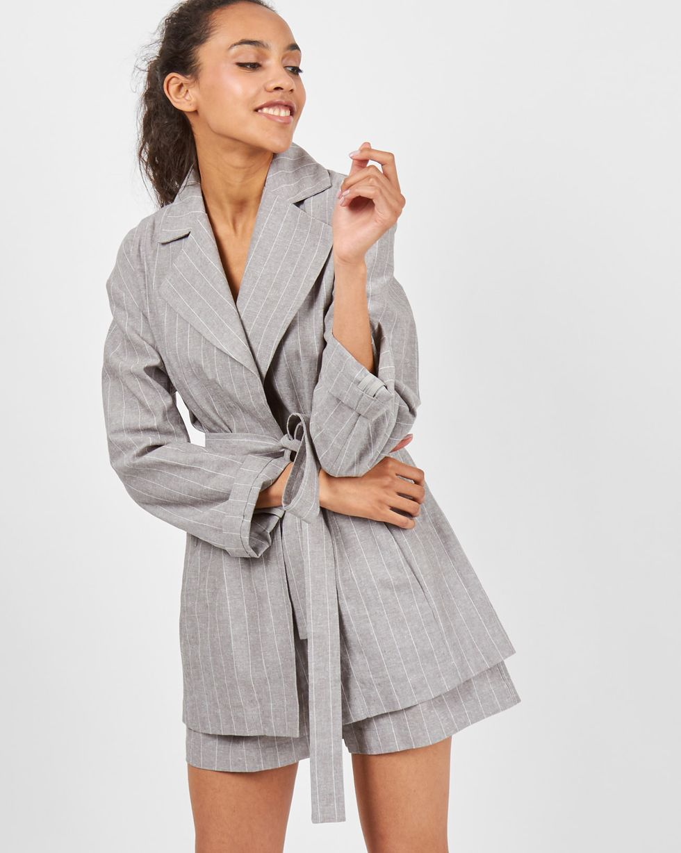 12Storeez Пиджак изо льна (серый) цена и фото