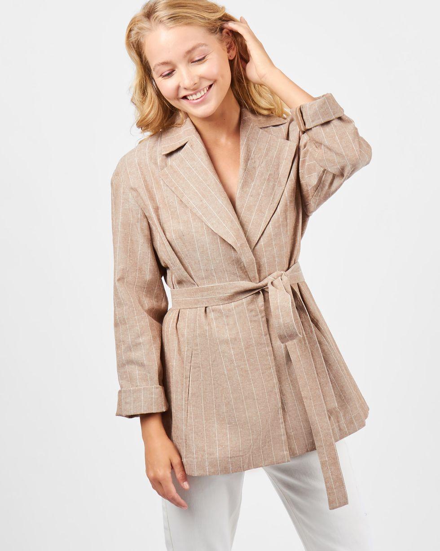 12Storeez Пиджак изо льна (бежевый) пиджак костюмный из льна