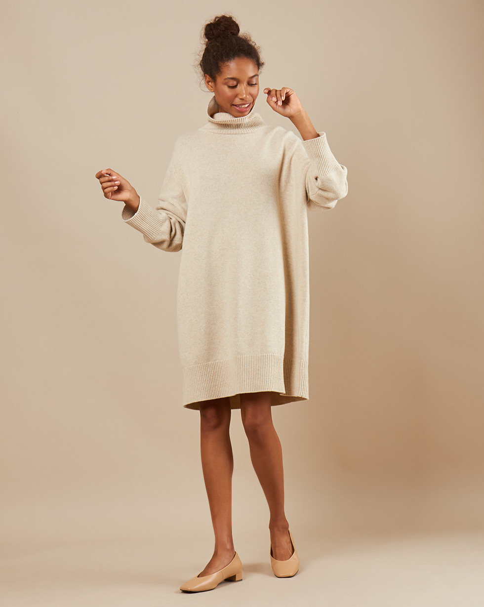 12Storeez Платье мини из трикотажа KN15-001 (Молочный)