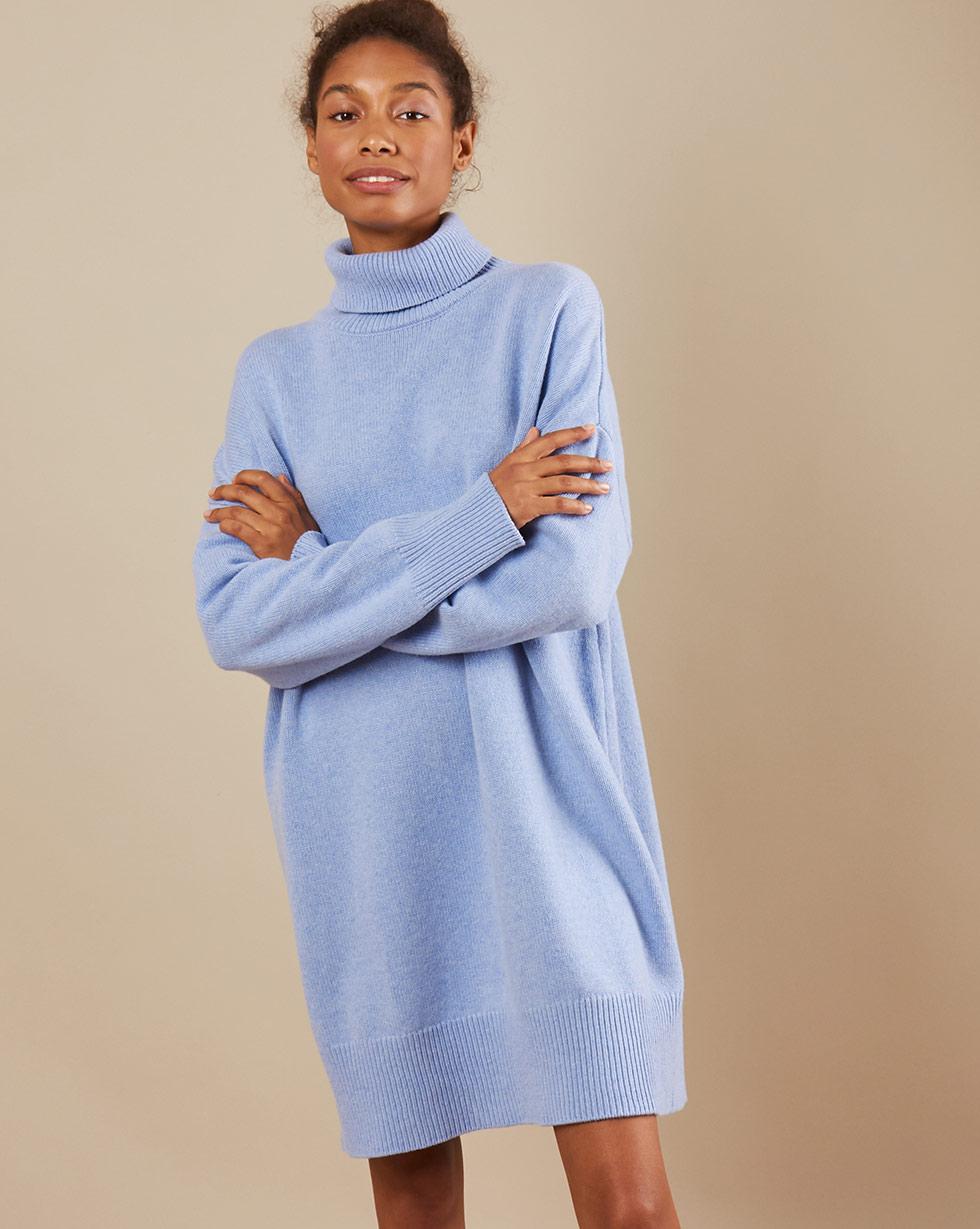 12Storeez Платье мини из трикотажа KN15-001 (Голубой)