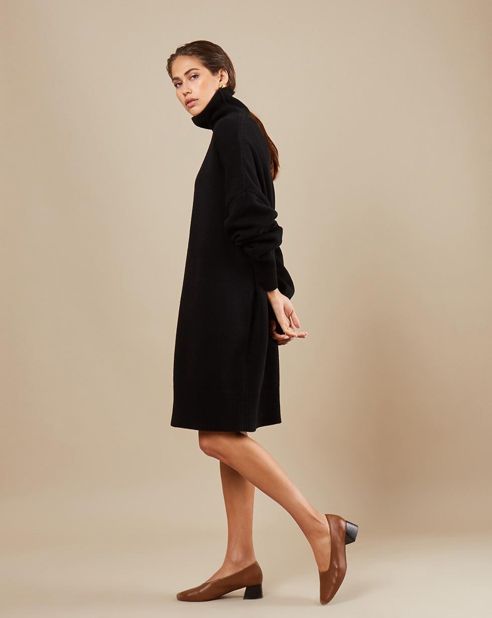 12Storeez Платье мини из трикотажа KN15-001 (Черный)