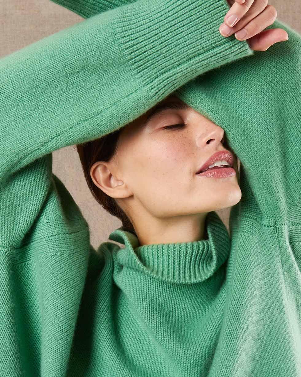12Storeez Свитер из трикотажа KN85-006 (Зеленый)