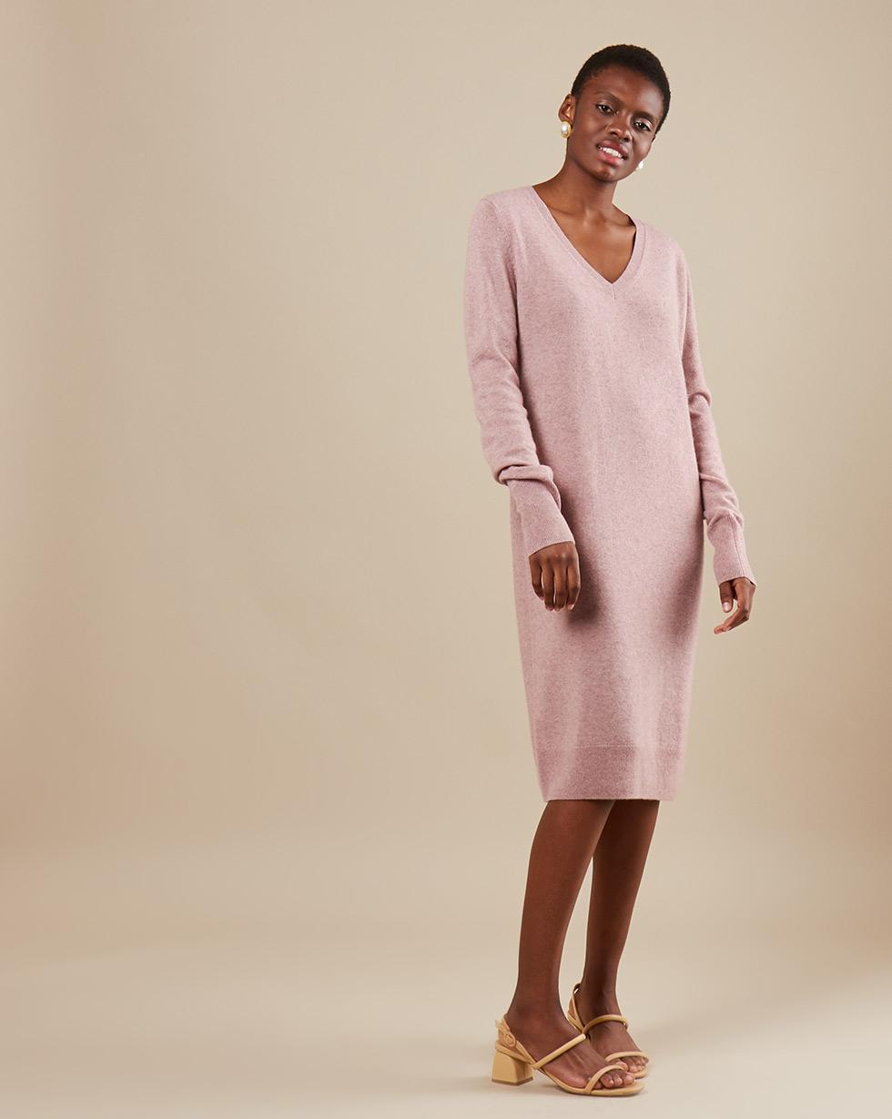 12Storeez Платье миди из трикотажа KN14-002 (Розовый меланж)