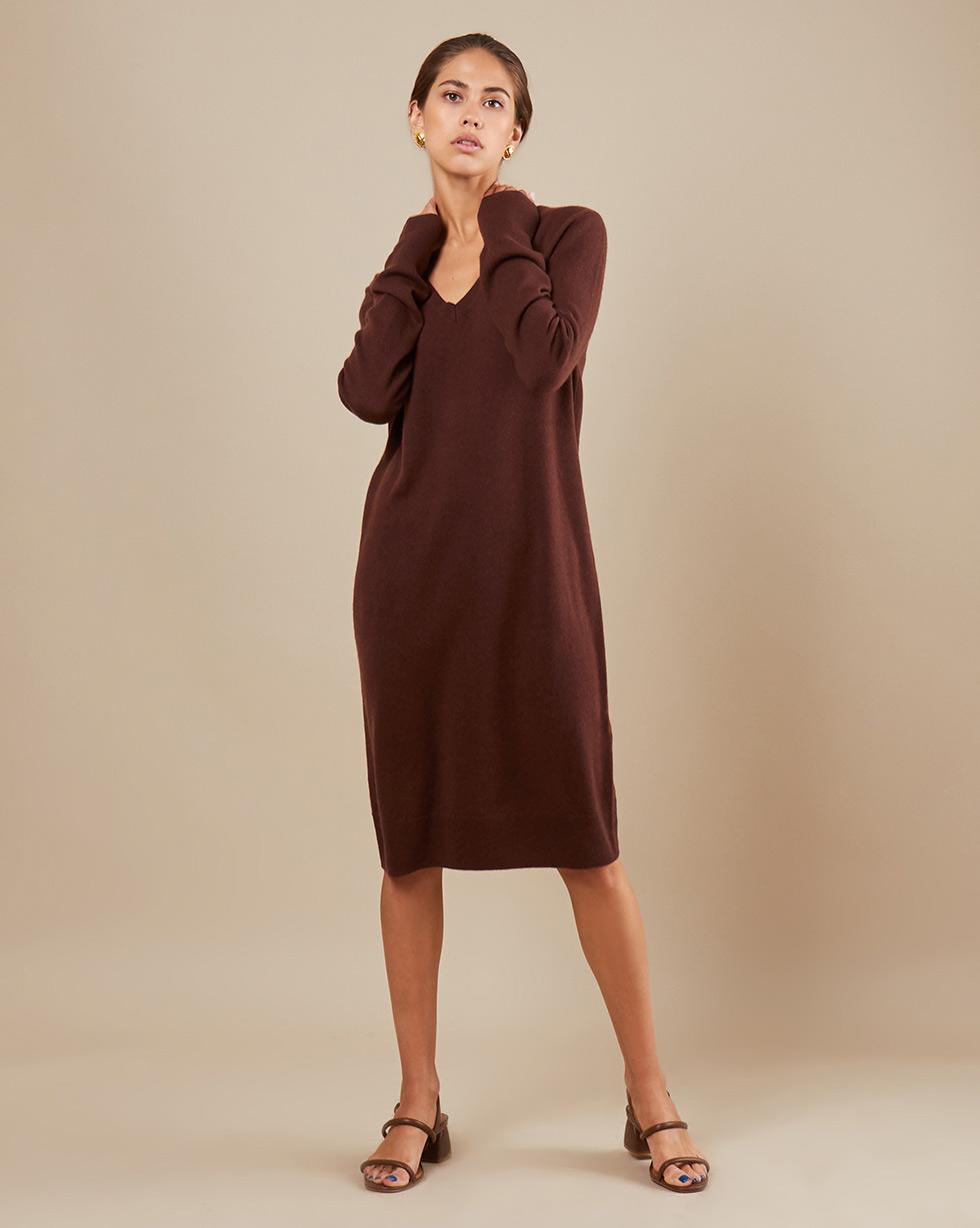 12Storeez Платье миди из трикотажа KN14-002 (Коричневый)