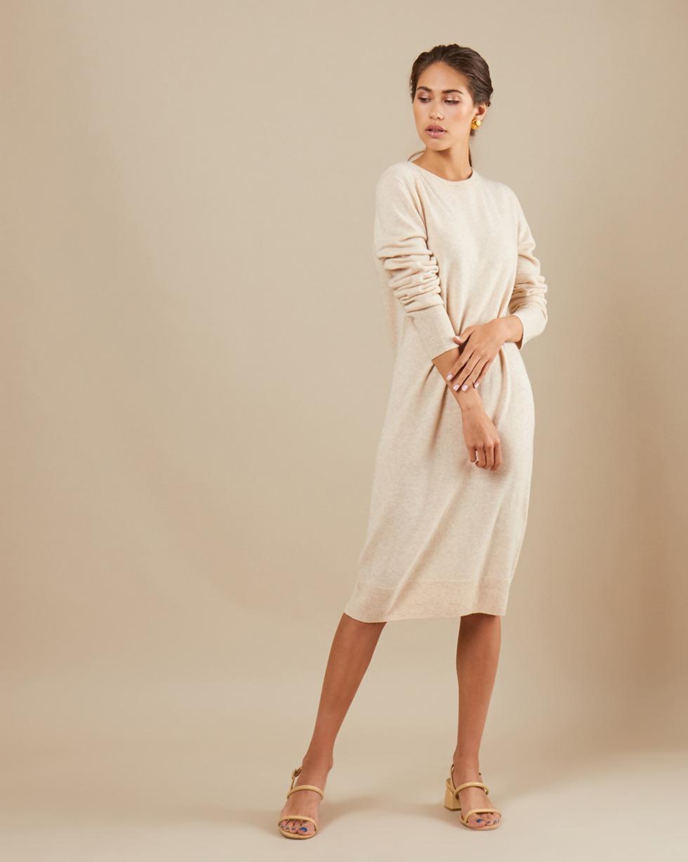 12Storeez Платье миди из трикотажа KN14-003 (Молочный меланж)