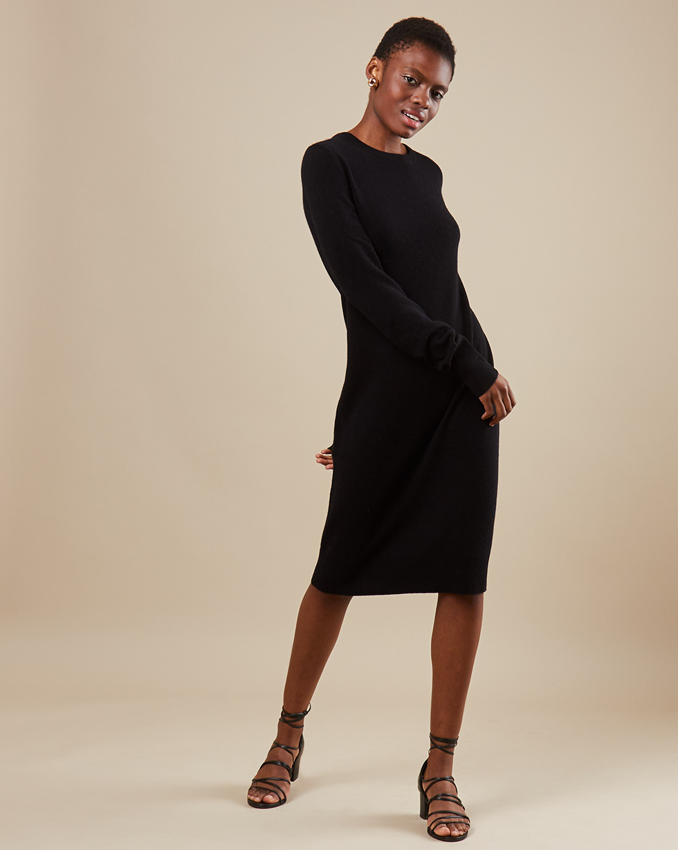 12Storeez Платье миди из трикотажа KN14-003 (Черный)