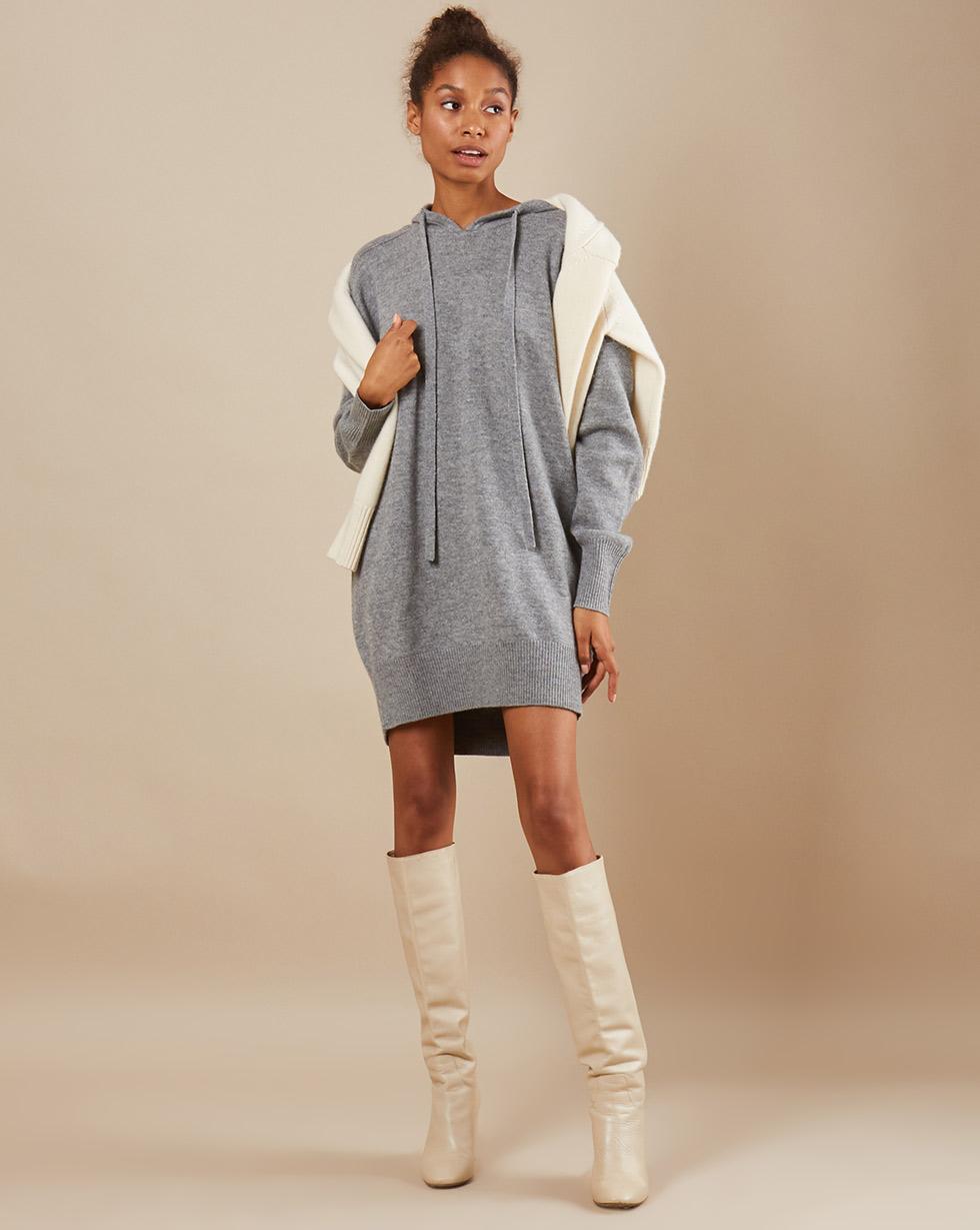 12Storeez Платье мини из трикотажа KN15/002 (Серый)