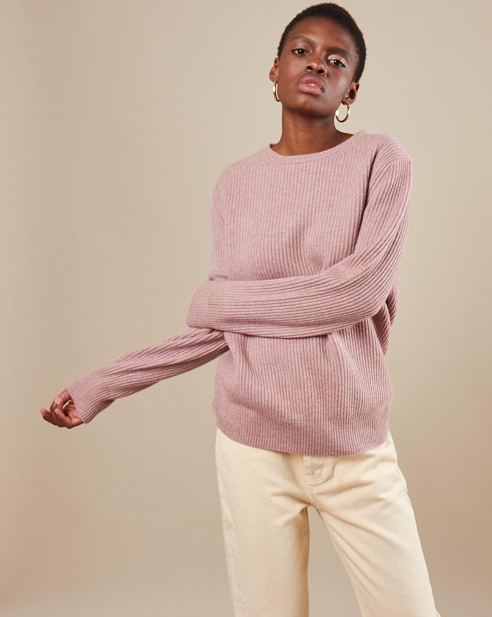 12Storeez Свитер из трикотажа KN85-010 (Розовый меланж)