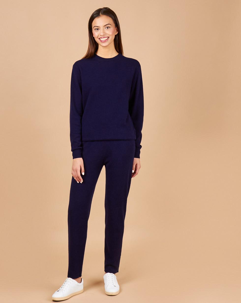 12Storeez Костюм: свитер и брюки на завязках(темно-синий) FW18 ruibi ka marc rebecca тонкий брюки карандаш пригородный костюм брюки тонкие брюки 72012k темно серый код m