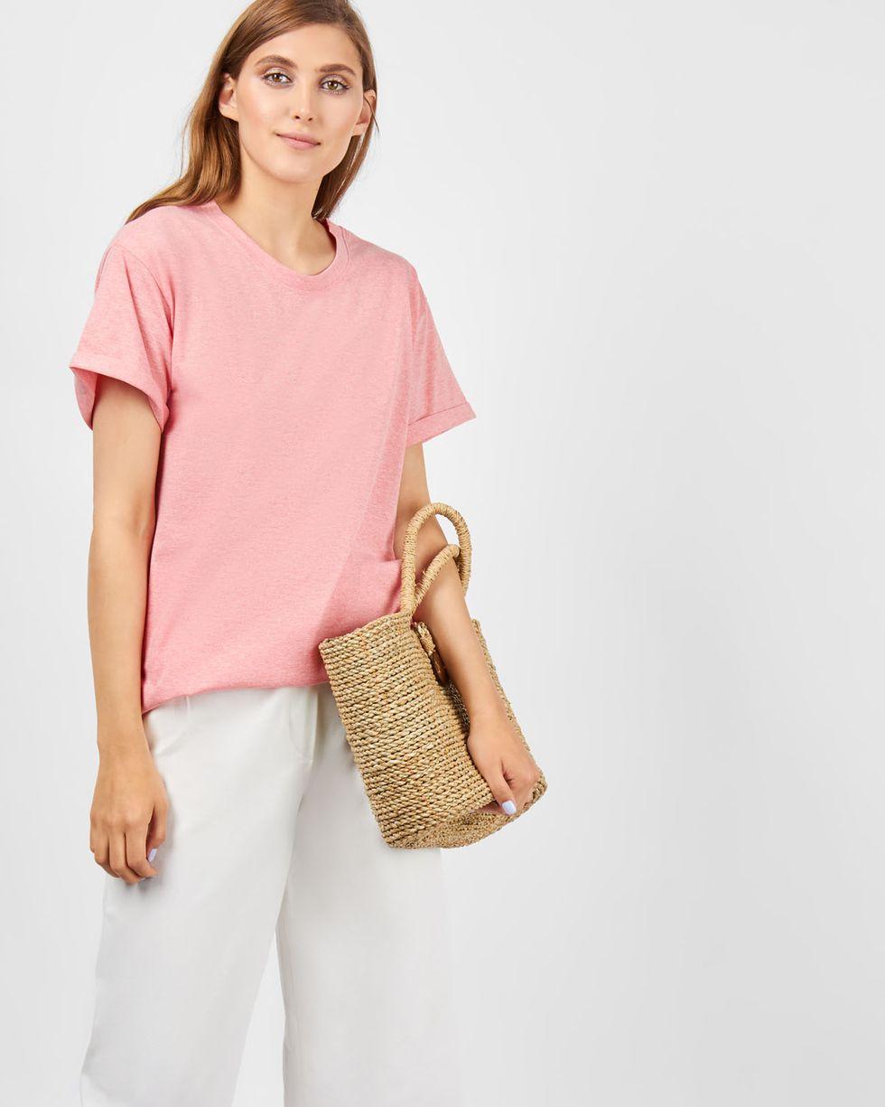 12Storeez Футболка свободная (розовая) bonpoint хлопковая бледно розовая футболка