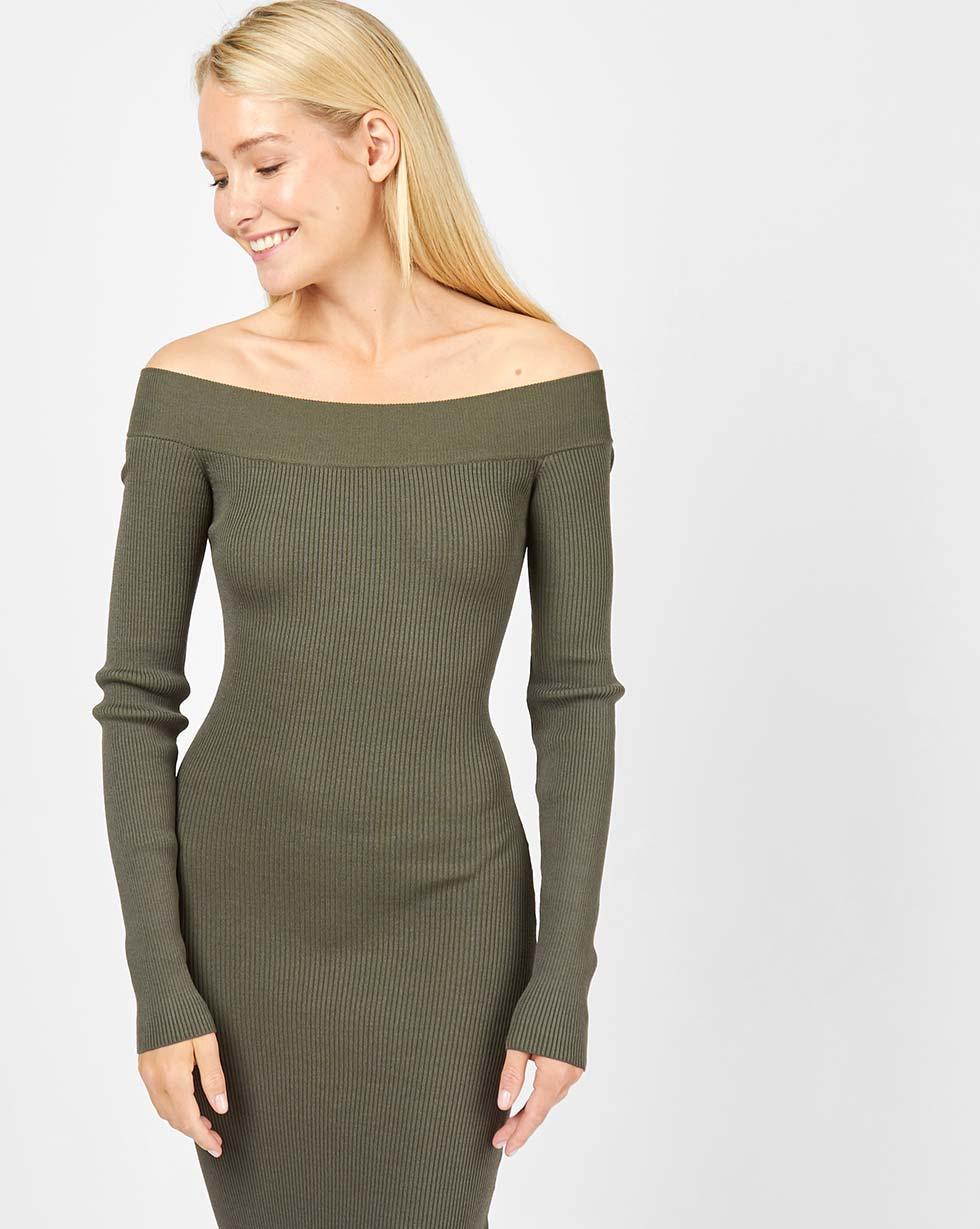12Storeez Платье с открытыми плечами (зеленый) 12storeez платье приталенное с открытыми плечами чёрный