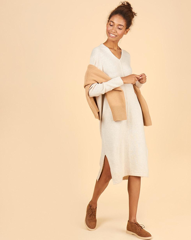 12Storeez Платье из 100% кашемира с разрезами (молочный)
