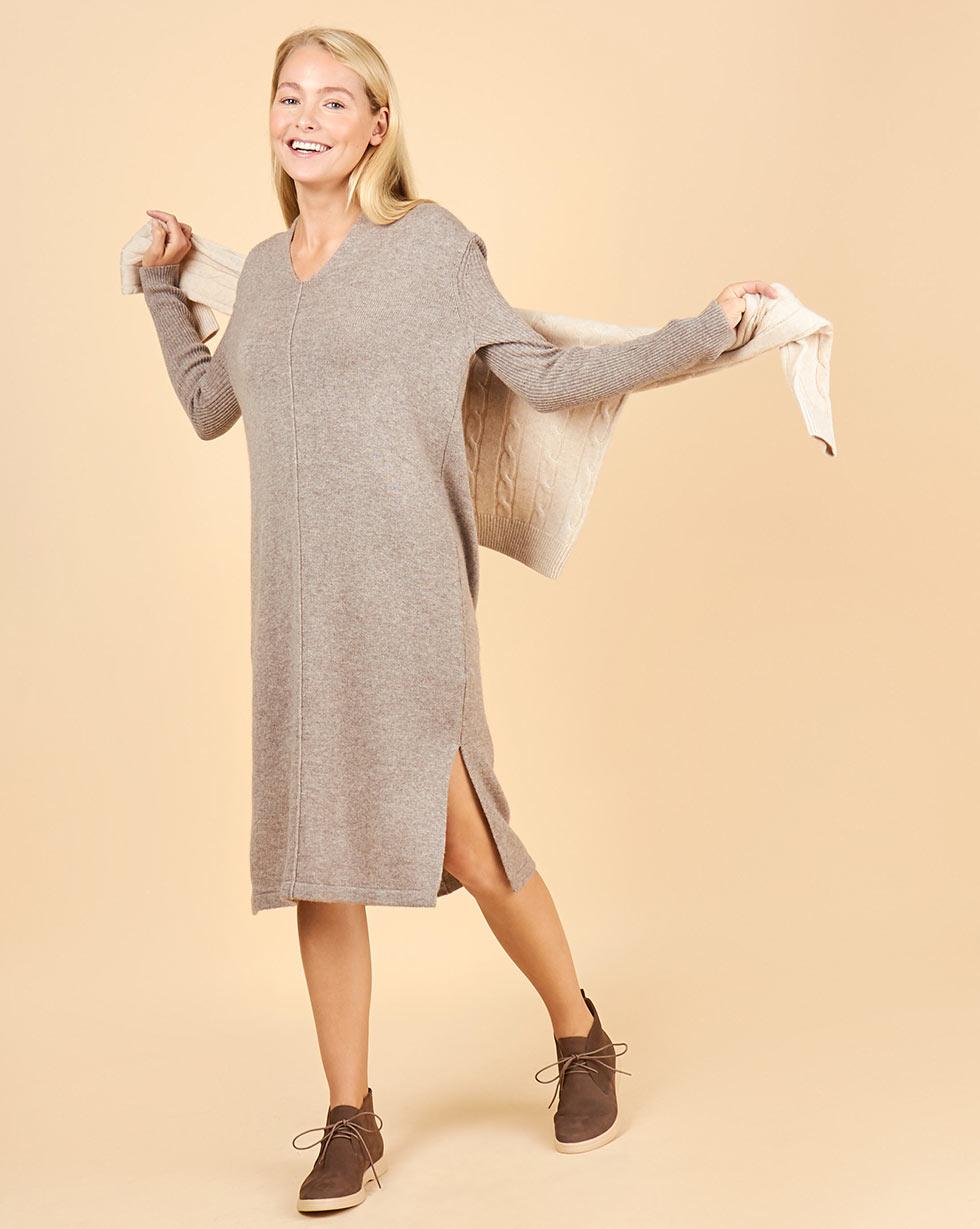 12Storeez Платье из 100% кашемира с разрезами (кофейный) цена 2017