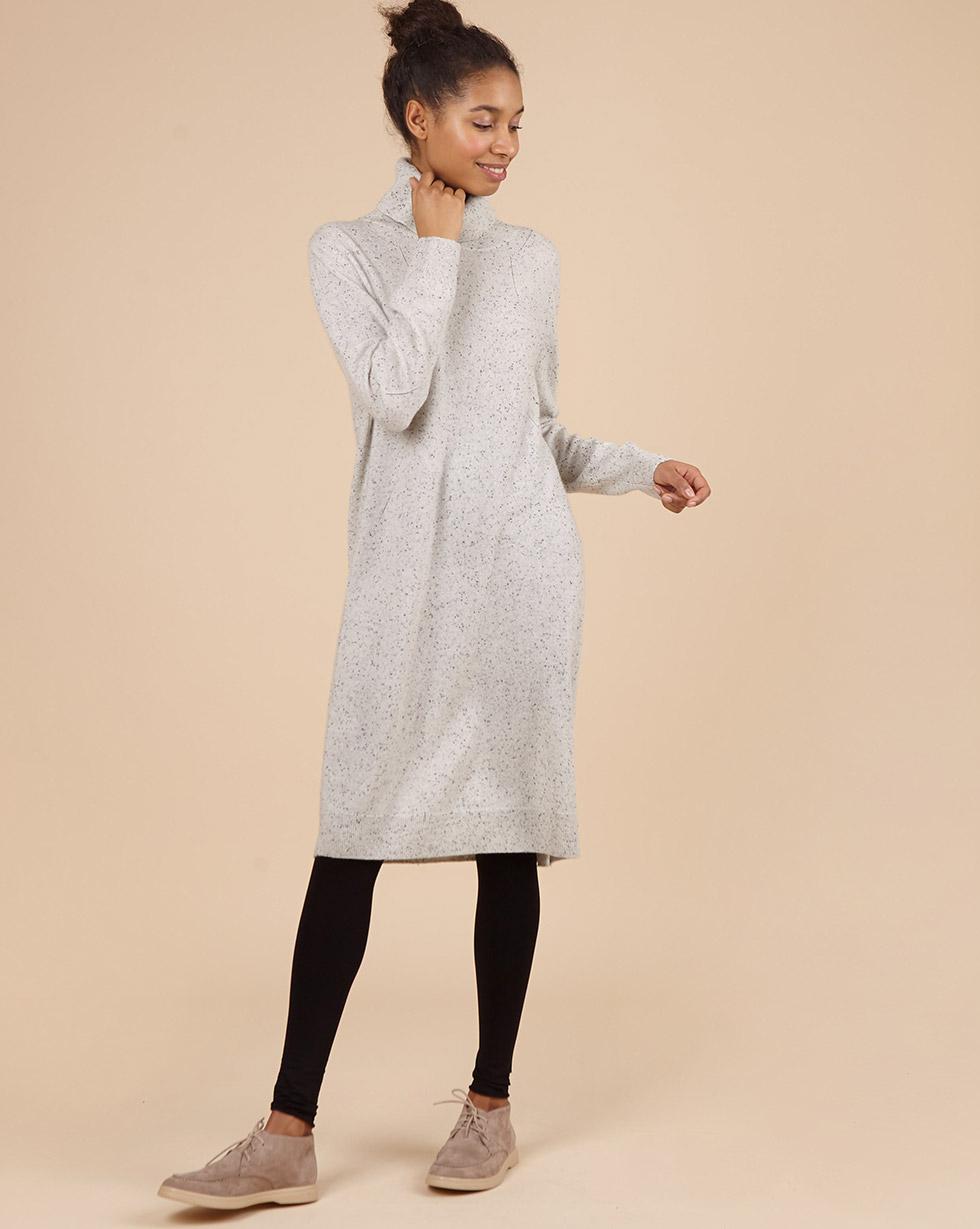 12Storeez Платье с высоким воротником из 100% кашемира (меланж серый) FW18