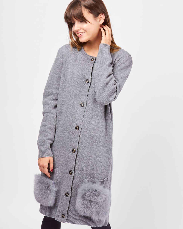 Платье-кардиган с накладными карманами SТрикотаж<br><br><br>Артикул: 8297427<br>Размер: S<br>Цвет: Серый<br>Новинка: НЕТ<br>Наименование en: Fur pocket cardigan