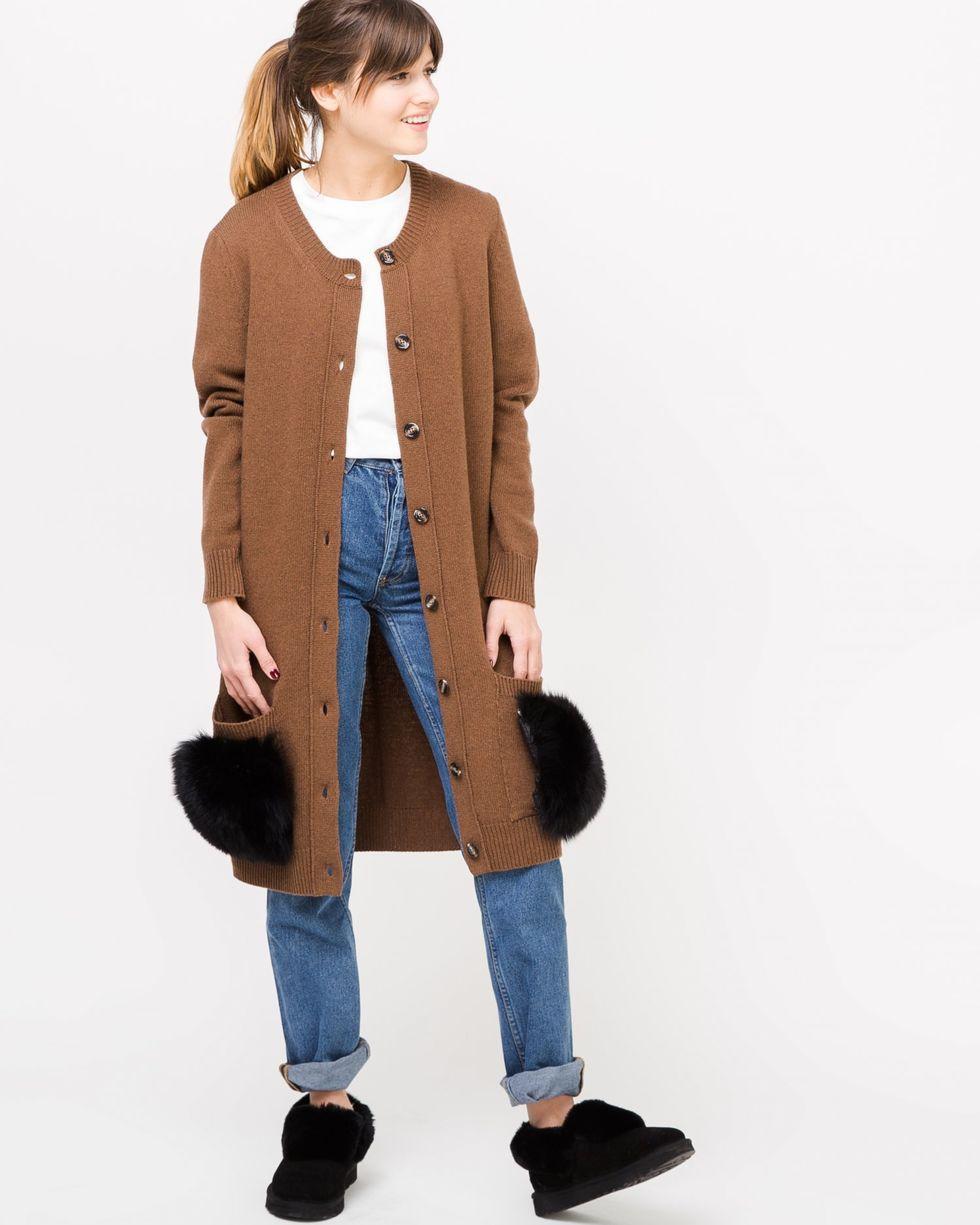 Платье-кардиган с накладными карманами Sтрикотаж<br><br><br>Артикул: 8297429<br>Размер: S<br>Цвет: Коричневый<br>Новинка: НЕТ<br>Наименование en: Fur pocket cardigan