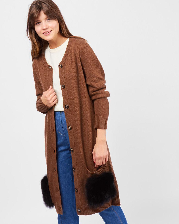 12Storeez Платье-кардиган с накладными карманами (коричневый) 12storeez комплект кардиган и плиссированная юбка коричневый черный
