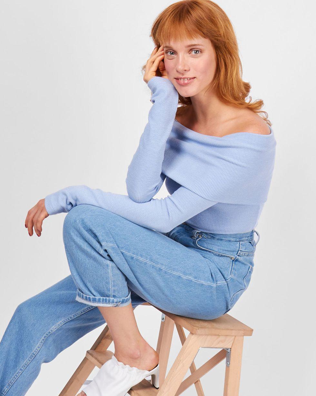 Свитер со спущенными рукавами MТопы и блузы<br><br><br>Артикул: 84410708<br>Размер: M<br>Цвет: Голубой<br>Новинка: НЕТ<br>Наименование en: Open shoulder sweater