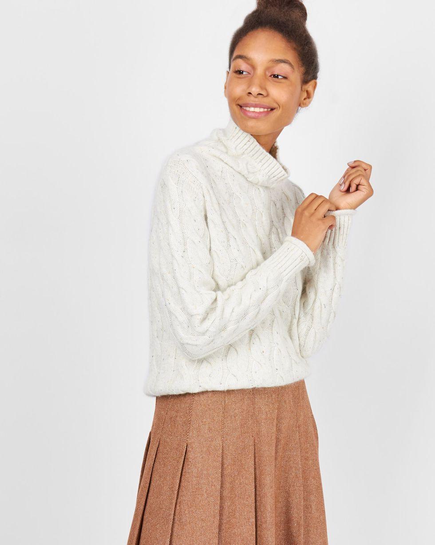 Свитер с косами меланж MТрикотаж<br><br><br>Артикул: 84411022<br>Размер: M<br>Цвет: Молочный<br>Новинка: НЕТ<br>Наименование en: Cable knit sweater