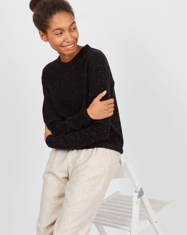 12Storeez Свитер с круглой горловиной меланж (меланж черный FW2017-2018) свитер с круглой горловиной bgn page 10