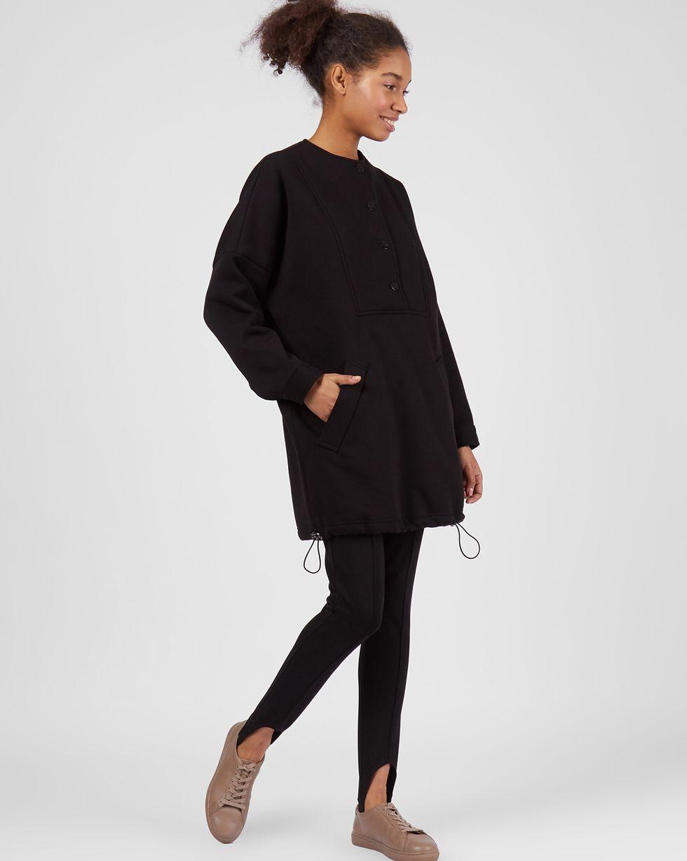 Толстовка объемная на пуговицах One sizeФутболки и толстовки<br><br><br>Артикул: 84411861<br>Размер: One size<br>Цвет: Черный<br>Новинка: ДА<br>Наименование en: Button detail sweatshirt