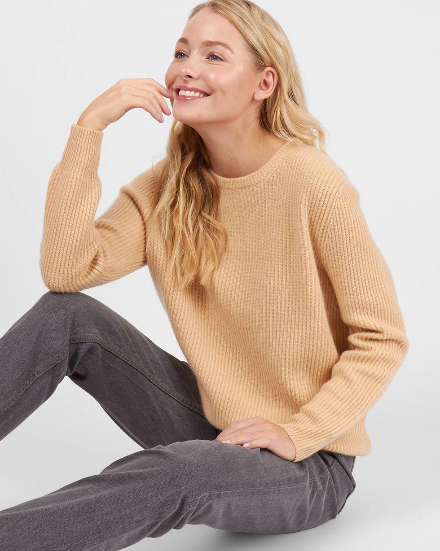 Свитер в рубчик из 100% кашемира  MТрикотаж<br><br><br>Артикул: 84412389<br>Размер: M<br>Цвет: Бежевый<br>Новинка: НЕТ<br>Наименование en: Cashmere rib-knit sweater