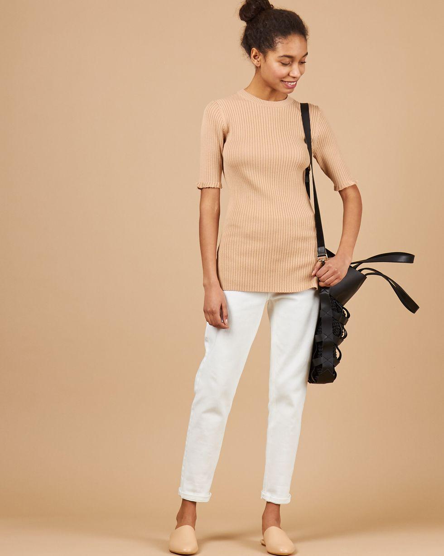 12Storeez Удлиненный джемпер с коротким рукавом (бежевый) джемпер в полоску catimini ут 00009343