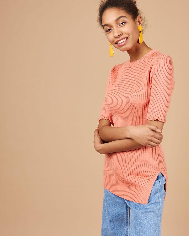 12Storeez Удлиненный джемпер с коротким рукавом (лососевый/морковный) буэнос ниньос пояс оформлены юбку карандаш с коротким рукавом платье длиной до колен
