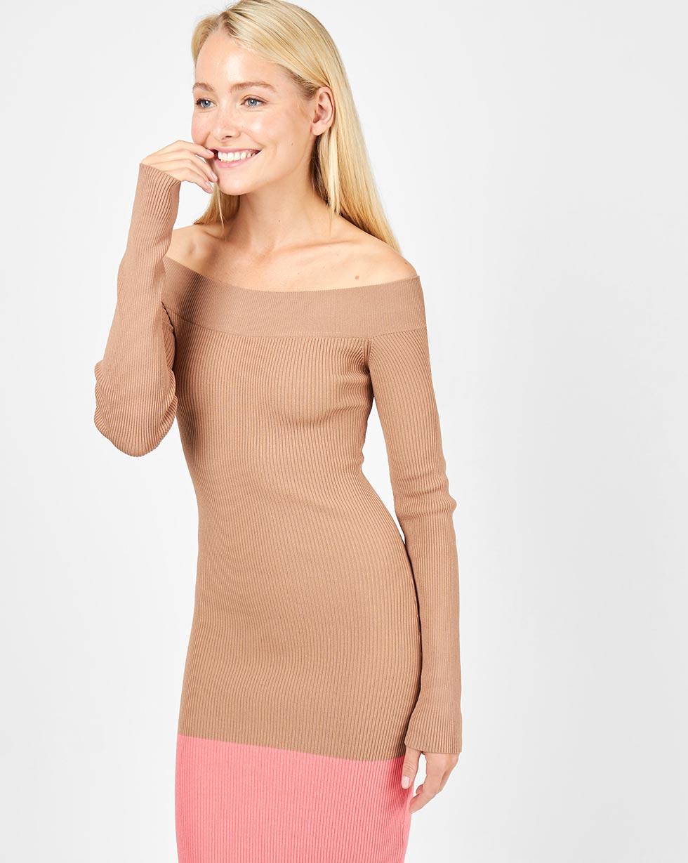 12Storeez Платье с открытыми плечами (бежевый/розовый) платье