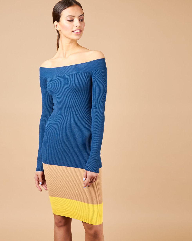 12Storeez Платье с открытыми плечами (морская волна/желтый) платье