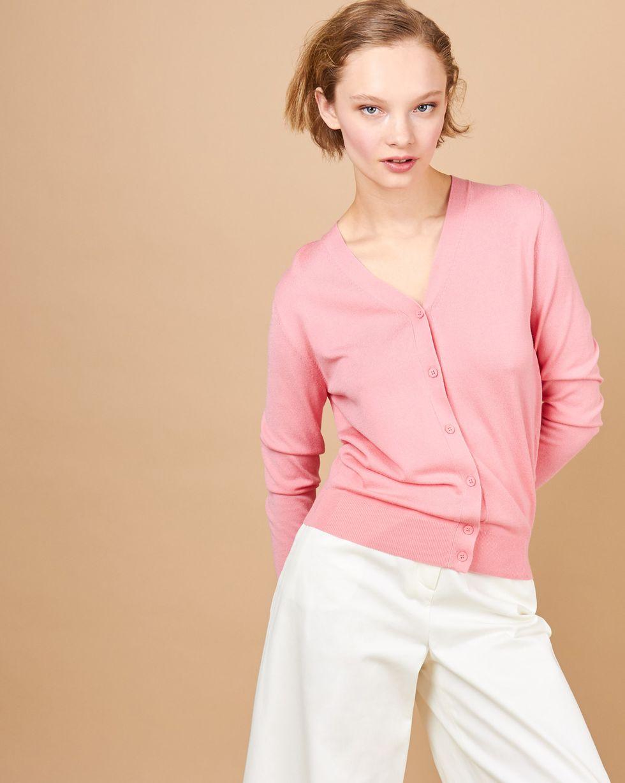 12Storeez Кардиган с V-образным вырезом (розовый) 12storeez футболка с v образным вырезом песочный