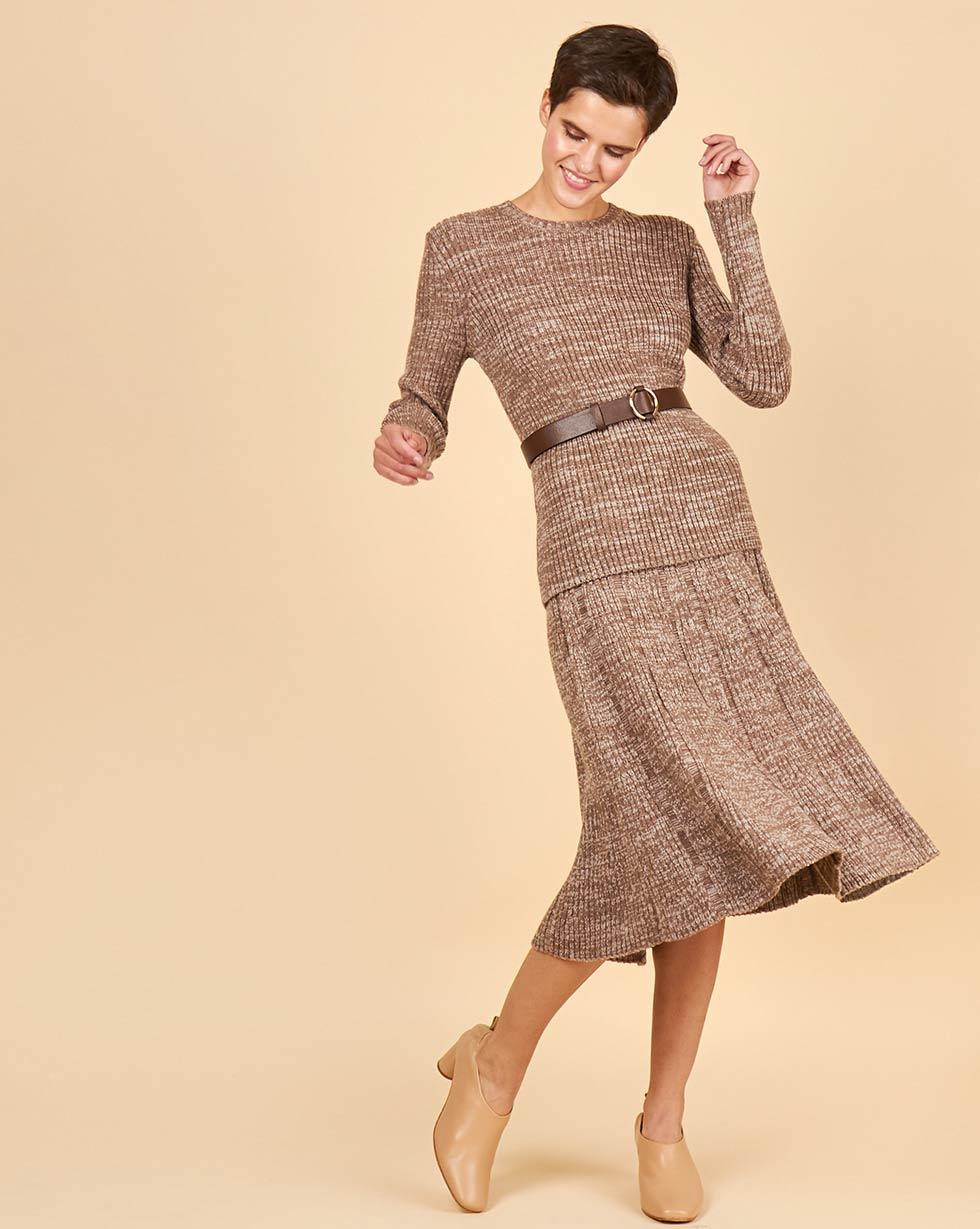 12Storeez Костюм крупной вязки: джемпер и юбка меланж (бежевый) цены